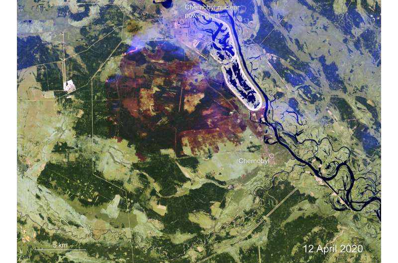 Mapping Chernobyl fires from space