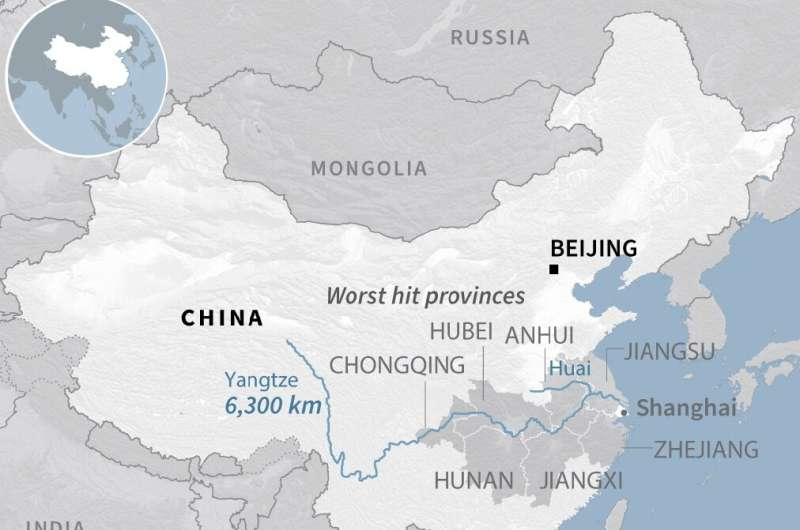 Map showing provinces worst hit by flooding in China that has left more than 140 people dead as of July 13, 2020