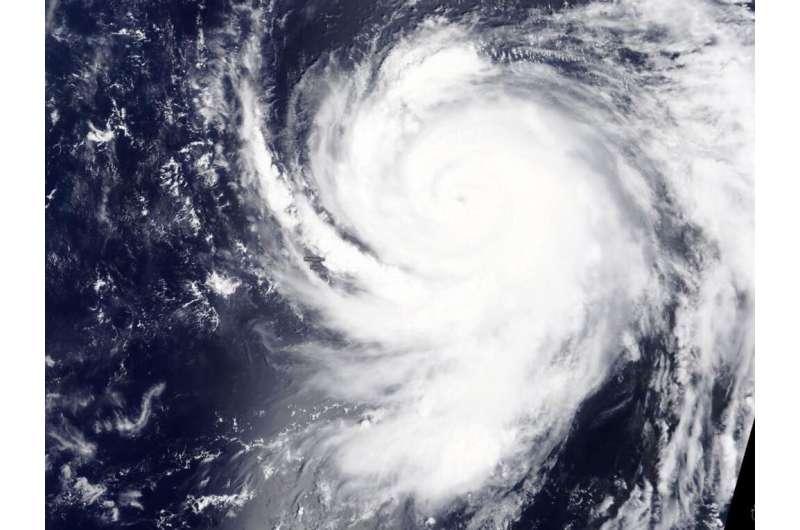 NASA eyes typhoon Haishen's 10 mile-wide eye