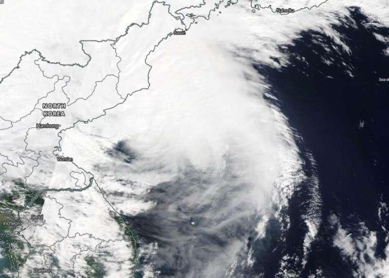 NASA finds Maysak becoming extra-tropical
