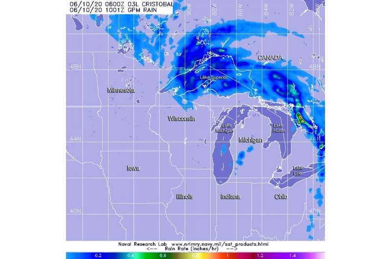 NASA finds post-tropical depression Cristobal soaking the Great Lakes
