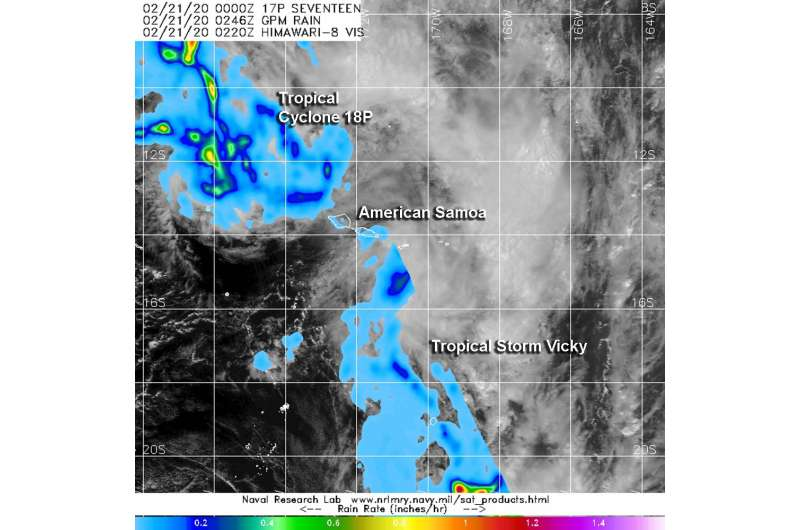 NASA measures rainfall rates in two American Samoa Tropical Cyclones