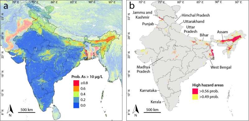 New areas at risk of drinking water arsenic exposure in India