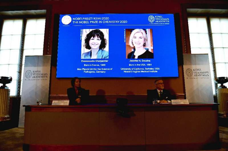 Nobel Chemistry prize winners Emmanuelle Charpentier (L) and Jennifer Doudna of the United States