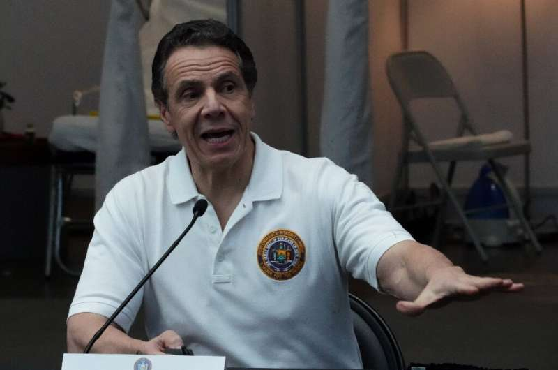 NY Governor Andrew Cuomo, in a March 27, 2020 file image, said 540 people had died in his state of 20 million inhabitants in the