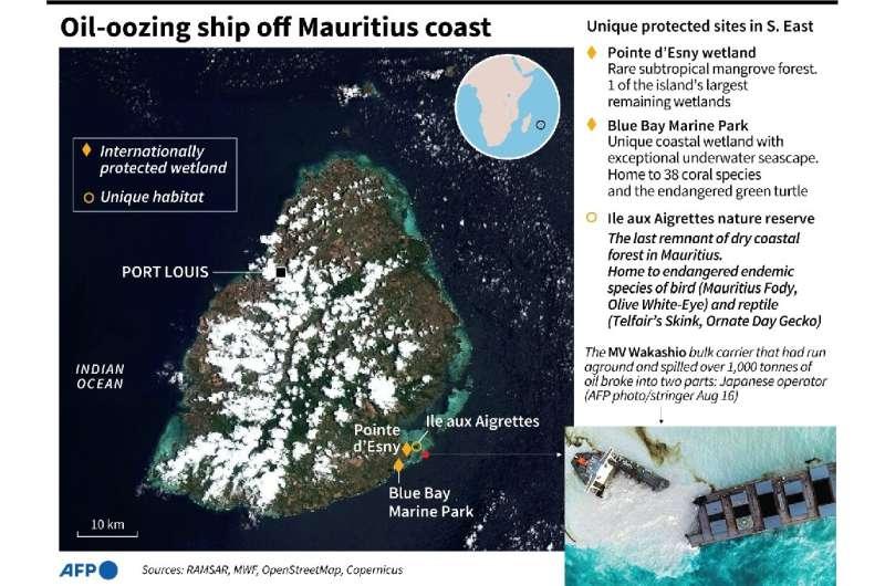 Oil-oozing ship off Mauritius coast