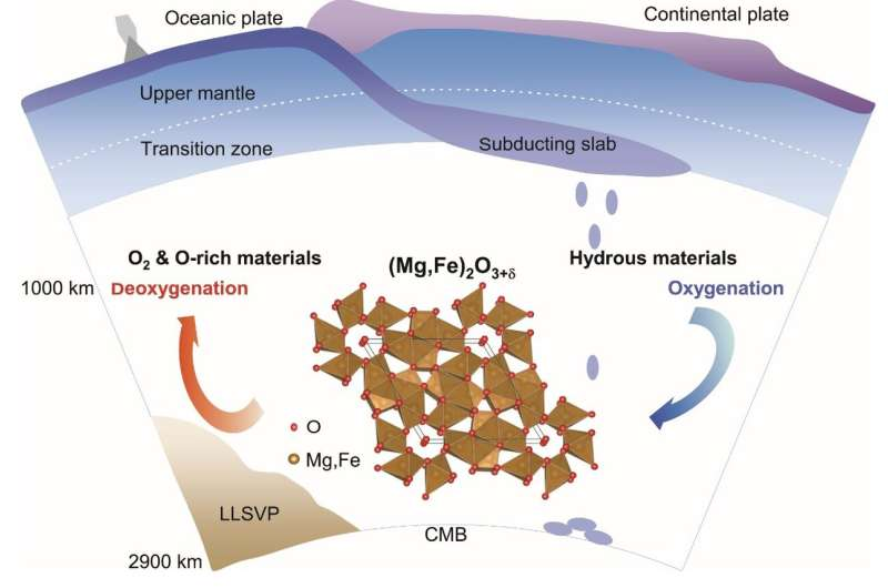 Oxygen-excess oxides in Earth's mid-mantle facilitate the ascent of deep oxygen