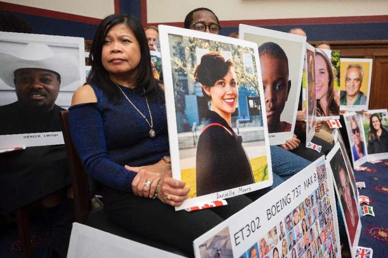 Pictures of the victims of Boeing 737 MAX accidents were on display as FAA Stephen Dickson testified in Congress in December 201