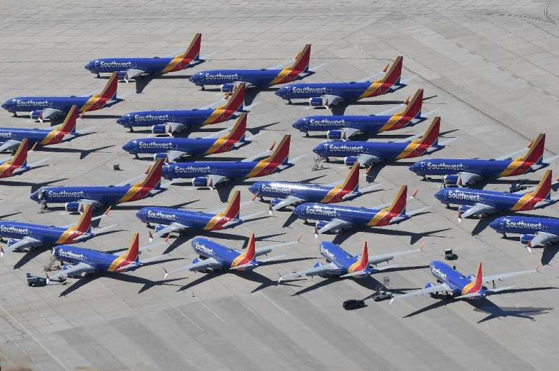 Southwest Airlines Boeing 737 MAX aircraft parked in Victorville, California