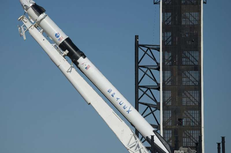 SpaceX's Falcon 9 rocket is raised into a vertical position on the launch pad ahead of the crewed mission to the International S