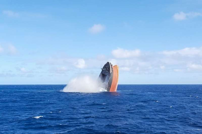 The broken stem of the vessel was sunk in the open ocean on Monday