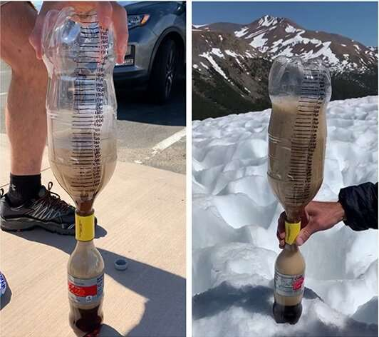The candy-cola soda geyser experiment, at different altitudes