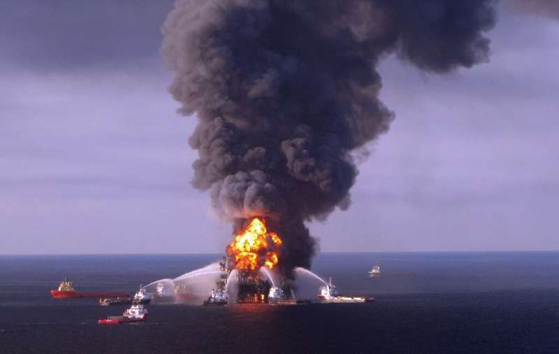 The Deepwater Horizon oil-drilling platform is shown in flames in the Gulf of Mexico two days after an explosion killed 11 worke