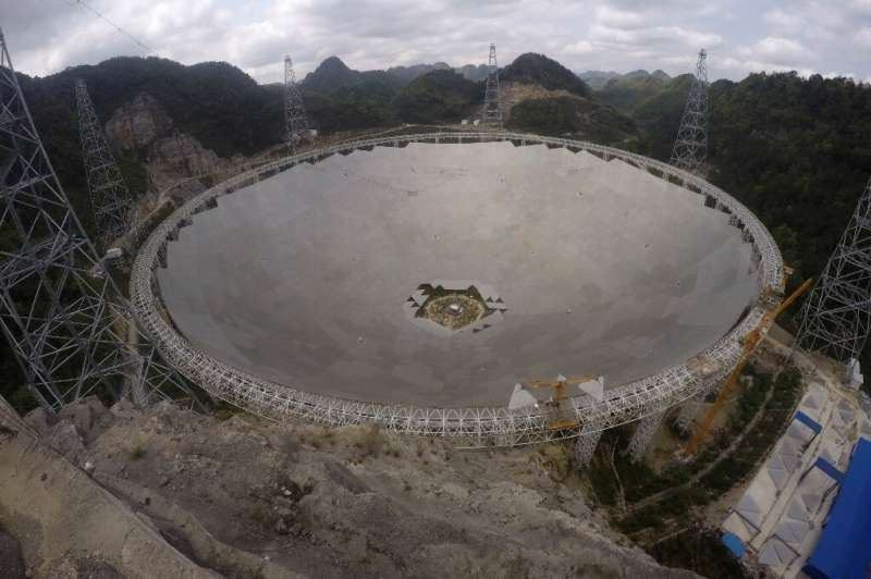 The five-hundred-metre Aperture Spherical radio Telescope (FAST) in southwestern China's Guizhou province is the only significan