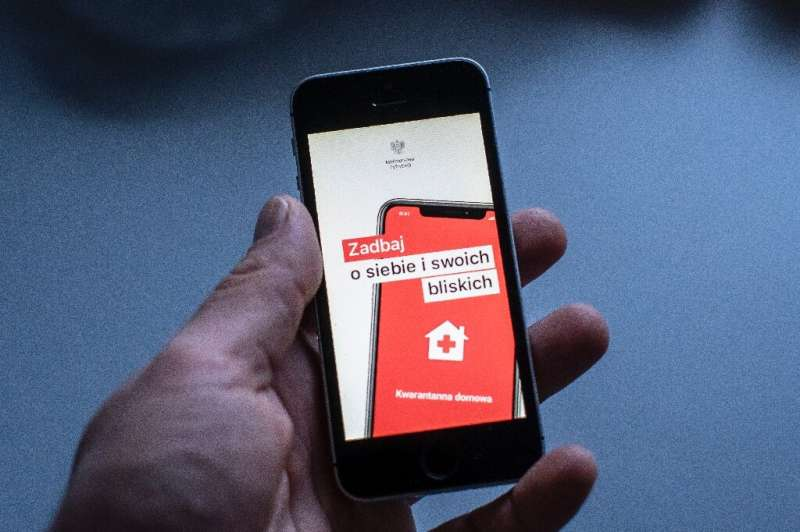 The Icon of a special aplication for people under coronavirus quarantine is seen on a smartphone in Warsaw, Poland