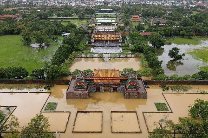 The Imperial City of Hue, has been partially submerged by floodwaters in central Vietnam