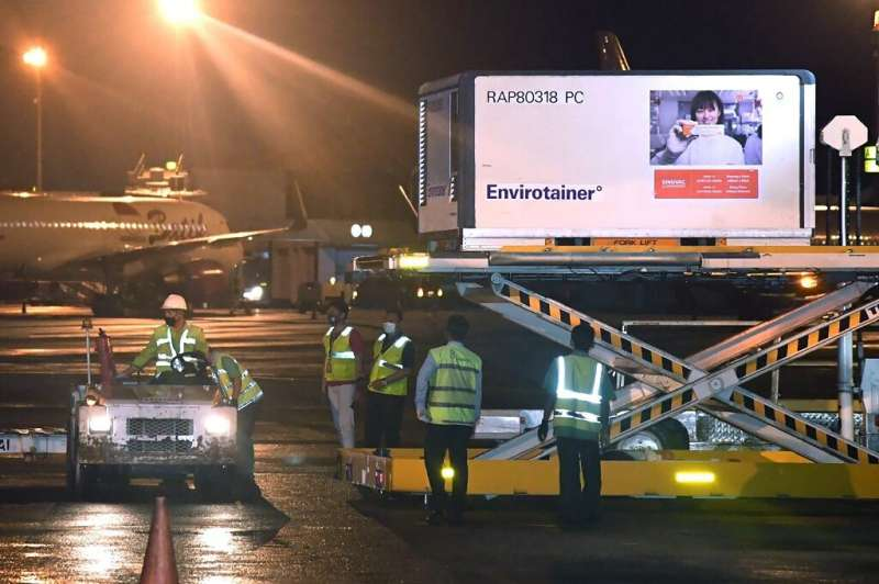 The Indonesian Presidential Palace released pictures of the 1.2 million CoronaVac doses arriving in Jakarta