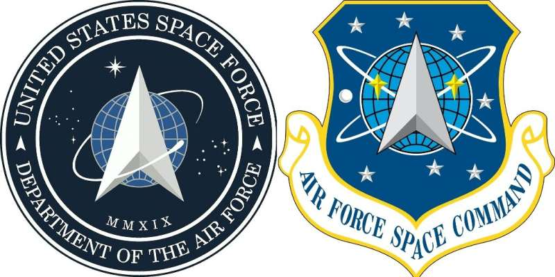 The logos of Space Force and its predecessor, the Air Force Space Command, side by side
