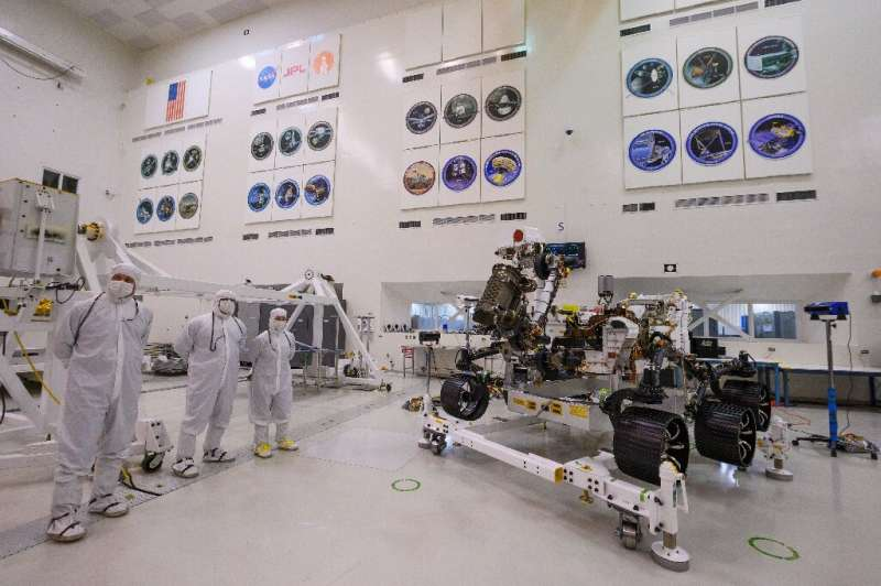 The Perseverance rover seen at NASA's Jet Propulsion Laboratory in  Pasadena, California in December 2019