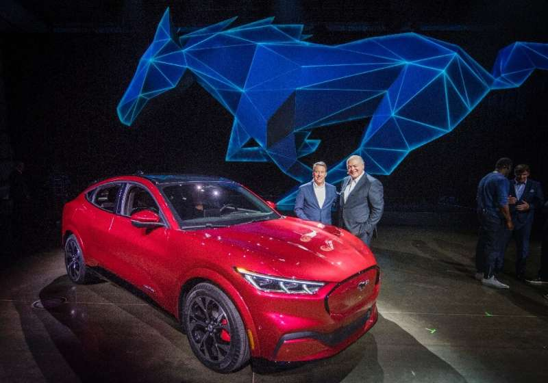 The repurposed Ford assembly plant in Oakville, Ontario will produce five new electric vehicles such as this all-electric Mustan