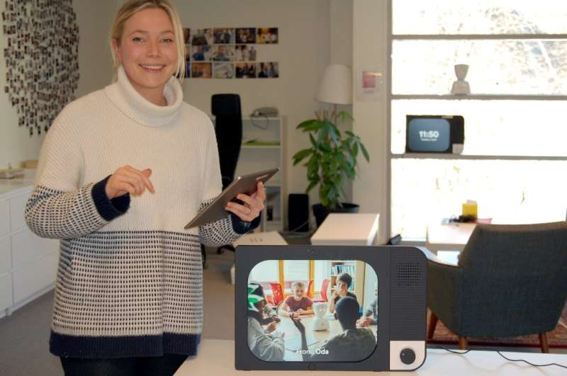 The screen becomes 'a window to the family' for isolated people, says Karen Dolva of Norwegian start-up No Isolation