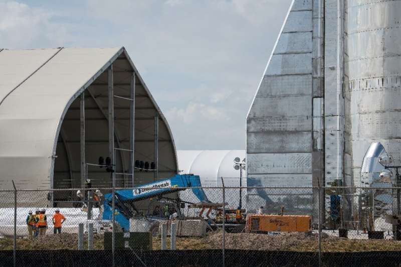 The Starship prototype was built in a few weeks by SpaceX teams on the Texas coast, in Boca Chica (pictured September 2019)