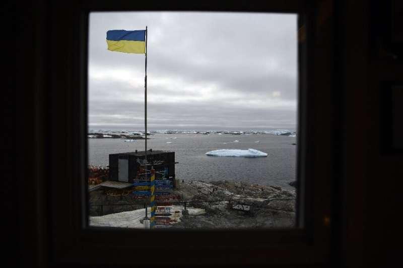 The Ukrainian flag flies proudly over the Vernadsky research base on Galindez Island, Antarctica