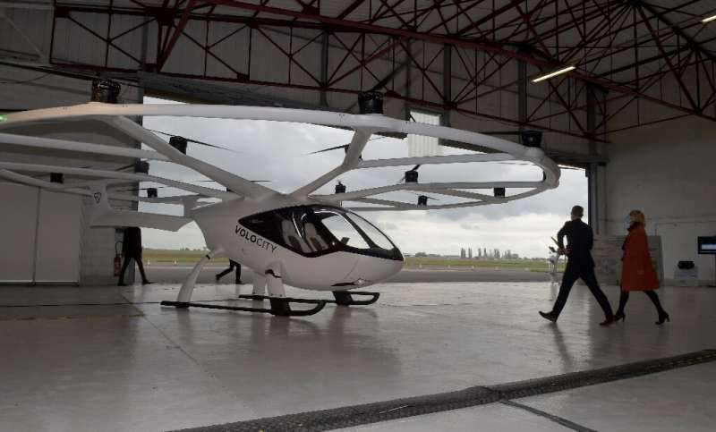 The unmanned Volocopter air taxi can carry two passengers with hand luggage