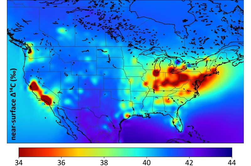 Tracking fossil fuel emissions with carbon-14