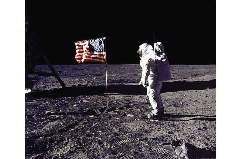 """US astronaut Edwin """"Buzz"""" Aldrin walking on the moon, on July 21, 1969"""