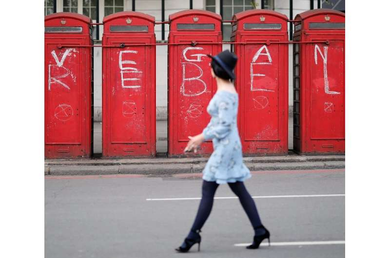 Vegan protest: London phone boxes, daubed by climate activists last year