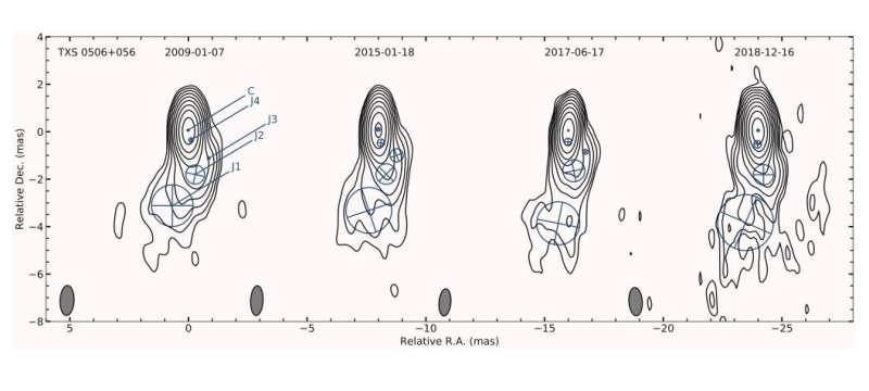 VLBI observations unveil the properties of neutrino-emitting blazar's jet
