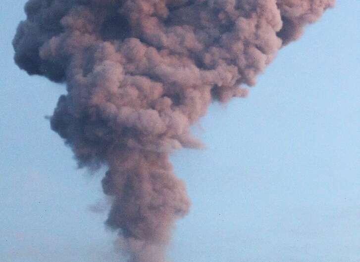 Volcanic ash rained down on a 10-square kilometre area