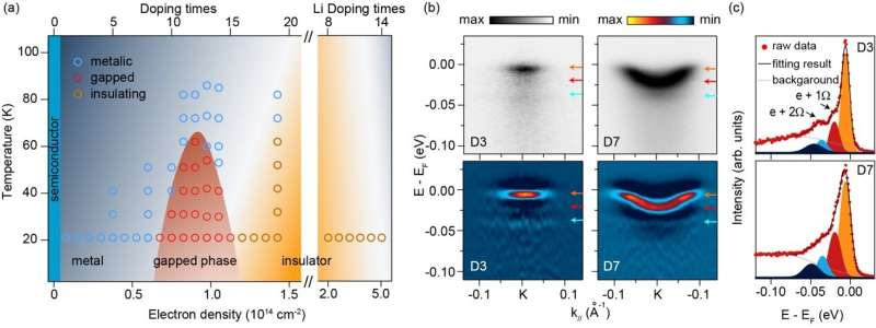 An exotic metal-insulator transition in a surface-doped transition metal dichalcogenide