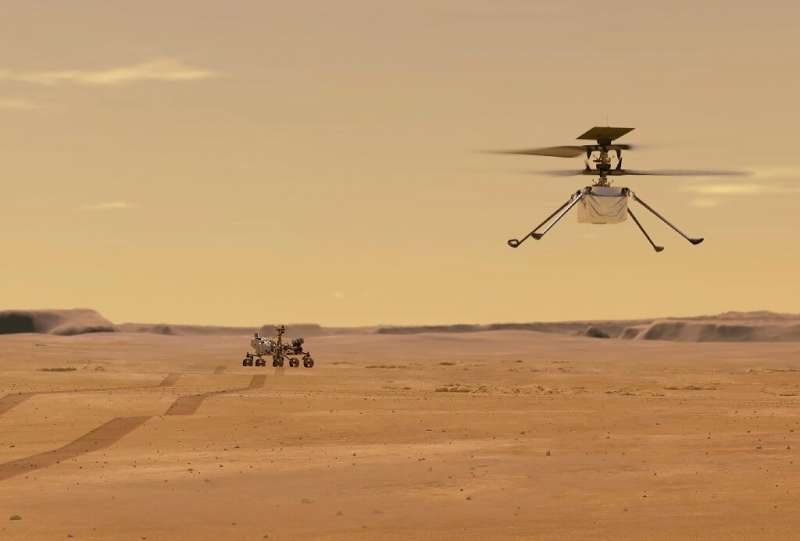 An illustration depicting NASA's Ingenuity Mars Helicopter flying on the Red Planet