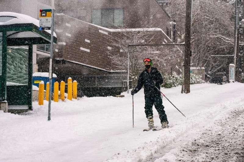 A skier heads down a hill in Seattle, Washington