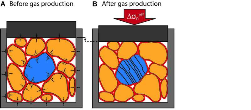 Gas pressure depletion and seismicity
