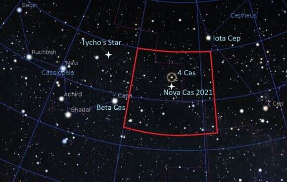 New binocular Nova Cas 2021 flares in Cassiopeia