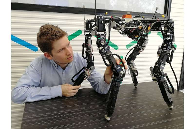 Quadruped robot automatically adapts morphology to variable conditions in unstructured outdoor environments