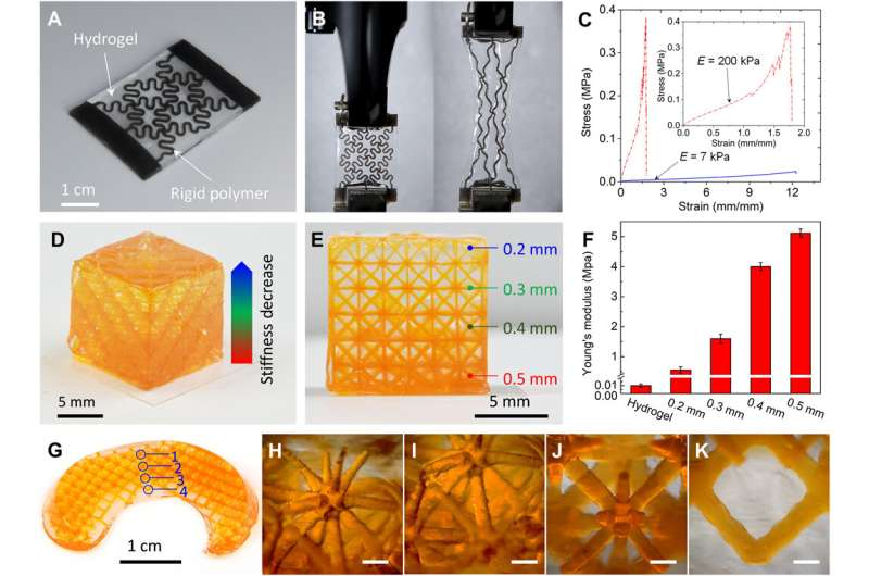 3-D printing highly stretchable hydrogel with diverse UV curable polymers