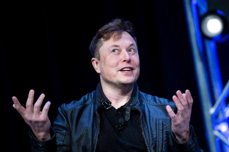 This file photo from March 9, 2020 shows Tesla boss Elon Musk speaking at an event in Washington; he has denied that his cars co