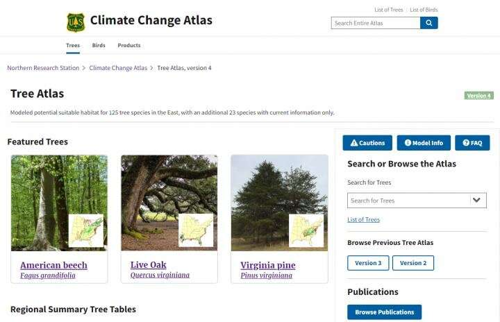 Climate change atlas offers a glimpse into forest futures