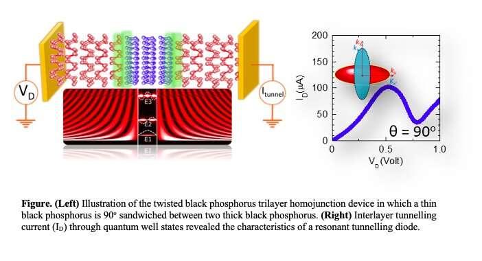 Des chercheurs réalisent des diodes tunnel résonantes basées sur des homostructures de phosphore noir torsadées