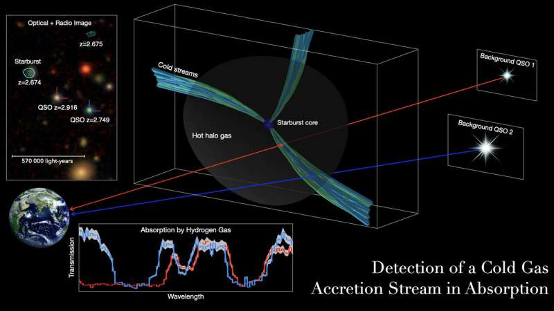 Researchers detect cold gas pipelines feeding early, massive galaxies