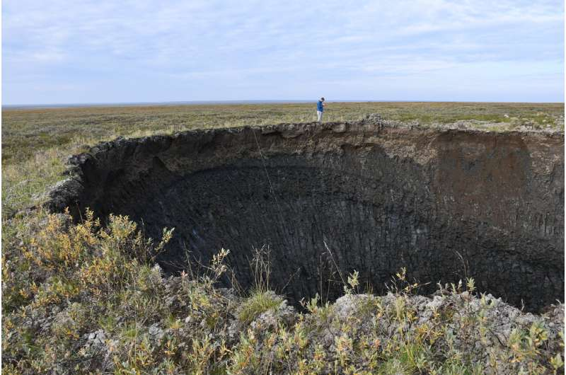 3D model shows off the insides of a giant permafrost crater
