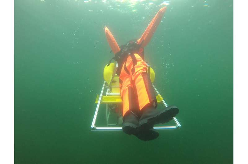 An autonomous underwater robot saves people from drowning