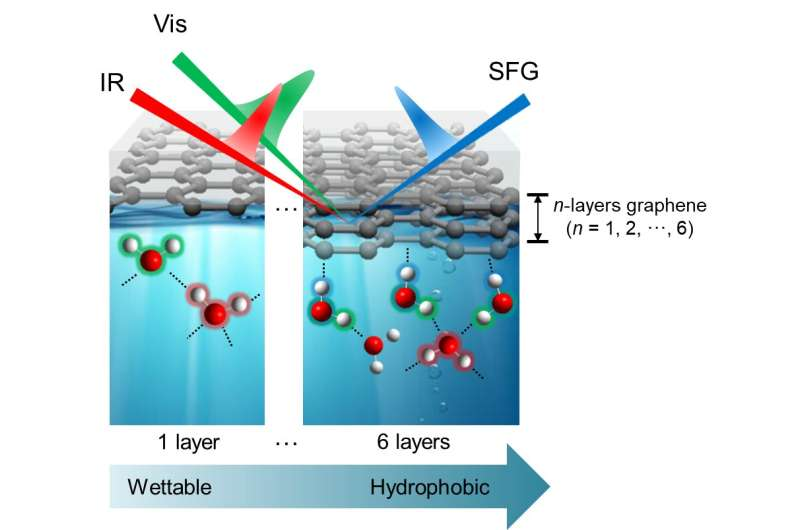 Identification of the wettability of graphene layers at the molecular level