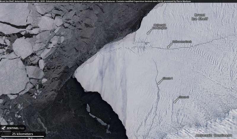 A-74 iceberg near collision with Brunt Ice Shelf