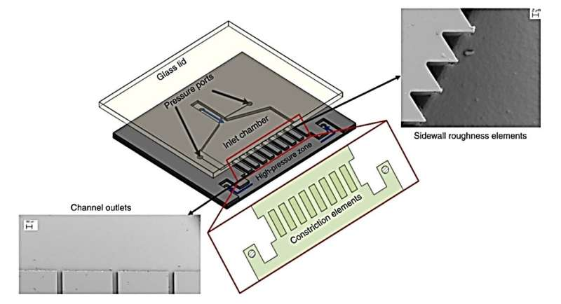 A cavitation-on-a-chip device with a multiple microchannel configuration