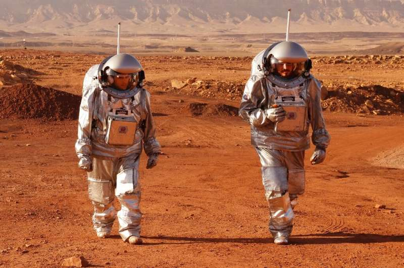 A couple of trainee astronauts walk in their spacesuits during a training mission for planet Mars inside the Ramon Crater in Mit